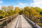 Old bridge with rusty metal rails — Stock Photo