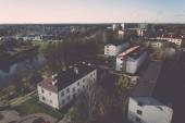 Small town panoramic view from above in the autumn. Vintage. — 图库照片