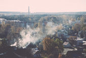 Small town panoramic view from above in the autumn. Vintage. — Foto de Stock