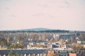 Small town panoramic view from above in the autumn. Vintage. — Stock fotografie