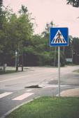 Road signs and lines on asphalt. Vintage. — 图库照片