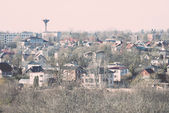 Small town panoramic view from above in the autumn. Vintage. — Stockfoto