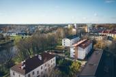 Small town panoramic view from above in the autumn. Retro grainy — Foto Stock