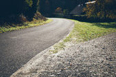 Autumn colored countryside landscape. Retro grainy film look. — Stock Photo