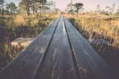 Wooden footpath on the bog - retro, vintage — Foto de Stock