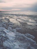 Frozen ice blocks in the sea - retro, vintage — Foto de Stock