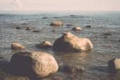 Rocky beach in the baltic sea - retro, vintage — Stock Photo
