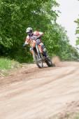 Enduro motorbike riding down the hill, Madona, Latvia, May 26, 2 — Stock Photo