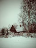 Rural cottage in winter in countryside - retro vintage — Stock Photo
