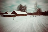 Country snowy road in winter - retro vintage — Stock Photo