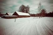 Route de campagne enneigée en hiver - retro vintage — Photo