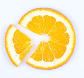 Slice of orange. fruit pie chart — Stok fotoğraf