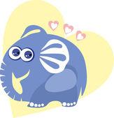Cute elephant in love - vector illustration — Vector de stock