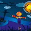 Scarecrow and pumpkins in scary Halloween night - vector illustration — Stock Vector #56779005