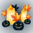 Halloween pumpkins and candles with maple leaves on grey background - vector Illustration — Stock Vector #56779013