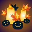 Halloween pumpkins and candles with maple leaves - vector Illustration — Stock Vector #56779023