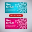 Happy New Year and Merry Christmas vector aqua and pink banners - horizontal set with ornament snowflake — Stock Vector #60201109