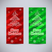 Happy New Year and Merry Christmas vector backgrounds red and green vertical set - ornament fir-tree and snowflakes — Stock Vector
