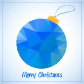 Happy New Year en Merry Christmas abstract vector symbool - blauwe driehoekjes speelgoed of een bal met draad — Stockvector