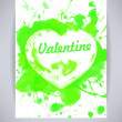 Happy Valentines Day party green poster design template with heart from splashes. Typography flyer invitation vector illustration — Stock Vector #63127089