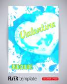 Happy Valentines Day party blue poster brochure design template with heart from splashes. Typography flyer invitation vector illustration — Stock Vector