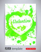 Happy Valentines Day party green poster design template with heart from splashes. Typography flyer invitation vector illustration — Stock Vector