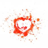 Bloody heart on red splashes and sports - vector illustration — Stock Vector
