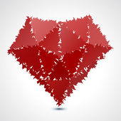 Abstract red geometric fluffy broken heart - vector illustration — Vetor de Stock