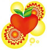 Apple heart with flash arnament symbol - vector illustration — Wektor stockowy