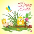 Happy Easter background meadow with cute chickens in egg, ladybug and butterfly in grass , vector illustration — Stock Vector #68678865