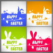 Happy easter colorful vector illustration cards Set with the big-eared rabbits silhouettes on the meadow — Stockvektor  #68851191