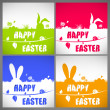 Happy easter colorful vector illustration cards Set with the big-eared rabbits silhouettes on the meadow — Stock Vector #68851241