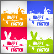 Happy easter colorful vector illustration cards Set with the big-eared rabbits silhouettes on the meadow — Stockvektor  #68851267
