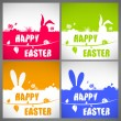 Happy easter colorful vector illustration cards Set with the big-eared rabbits silhouettes on the meadow — Vecteur #68851293