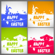 Happy easter colorful vector illustration cards Set with the big-eared rabbits and chicken silhouettes on the meadow — Vector de stock  #68851705