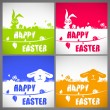 Happy easter colorful vector illustration cards Set with the big-eared rabbits and chicken silhouettes on the meadow — Stok Vektör #68851733