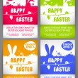 Happy easter colorful vector illustration Flyer templates Set with the big-eared rabbits silhouettes on the meadow — Vecteur #68852141