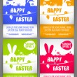 Happy easter colorful vector illustration Flyer templates Set with the big-eared rabbits silhouettes on the meadow — Vetor de Stock  #68852531
