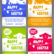Happy easter colorful vector illustration Flyer templates Set with the big-eared rabbits and chicken silhouettes on the meadow — Vector de stock  #68853083
