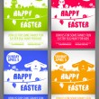 Happy easter colorful vector illustration Flyer templates Set with the big-eared rabbits and chicken silhouettes on the meadow — Stockvector  #68853101