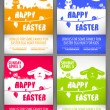 Happy easter colorful vector illustration Flyer templates Set with the big-eared rabbits and chicken silhouettes on the meadow — Vecteur #68853111