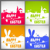 Happy easter colorful vector illustration cards Set with the big-eared rabbits silhouettes on the meadow — Vettoriale Stock