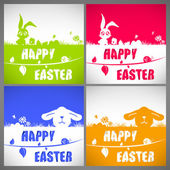 Happy easter colorful vector illustration cards Set with the big-eared rabbits and chicken silhouettes on the meadow — Stock Vector