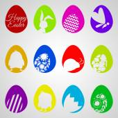 Vector Happy Easter set of easter eggs decorated with different ornament — Stock Vector