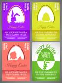 Happy easter pastel color vector illustration Flyer templates Set with rabbit and chicken silhouettes in egg — Stock Vector
