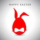 Carte d'illustration vectorielle d'oeuf de Pâques rouge lapin gentilhomme — Vecteur