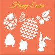 Happy easter vector set with silhouettes of chickens, rabbit, flower, leaf and eggs — Stock Vector #69327991