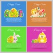 Happy easter colorful vector illustration cards Set meadow with newborn chicken, flower, butterfly, ornament floral eggs — Stock Vector #69414543