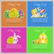 Happy easter colorful vector illustration cards Set meadow with newborn chicken, flower, butterfly, ornament floral eggs — Stock Vector #69414641