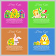 Happy easter colorful vector illustration cards Set meadow with newborn chicken, flower, butterfly, ornament floral eggs — Stock Vector #69415165